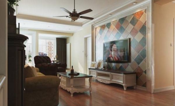 客厅带给我们的第一感觉是美式乡村之感,电视背景墙采用了仿古小红砖